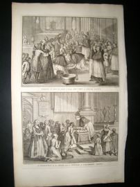 Picart C1730 Folio Antique Print. Religious Catholic Good Friday Ceremony